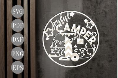 Joyful Camper Paper Cut Template, Summer Camper SVG, PDF, EPS, DXF