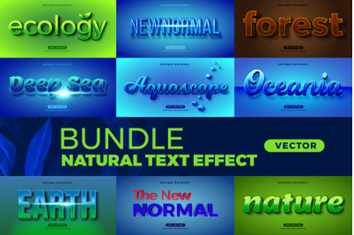 Bundle Natural editable font effect text vector