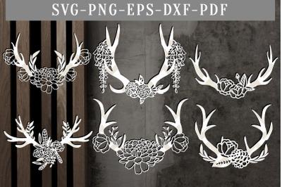 Bundle Of 6 Floral Antler Paper Cut, Boho Flowers SVG, DXF