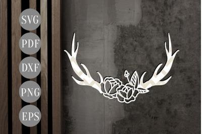 Floral Antler 1 Papercut Template, Door Hanger Design, SVG