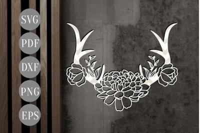 Floral Antler 2 Papercut Template, Door Hanger Design, SVG