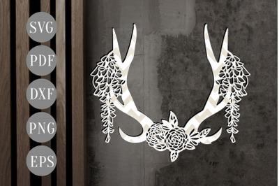 Floral Antler 3 Papercut Template, Door Hanger Design, SVG