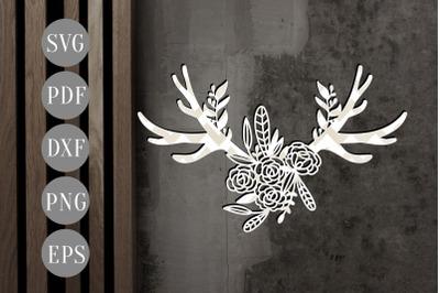 Floral Antler 4 Papercut Template, Door Hanger Design, SVG