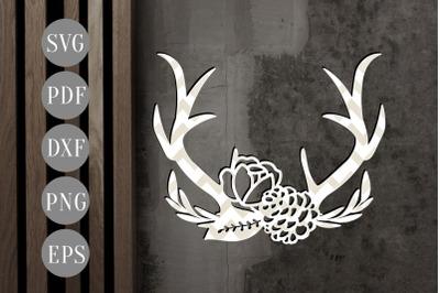 Floral Antler 5 Papercut Template, Door Hanger Design, SVG