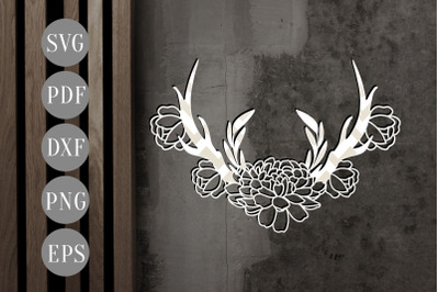 Floral Antler 6 Papercut Template, Door Hanger Design, SVG