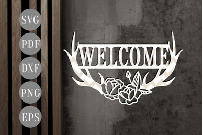 Welcome Anthlers Paper Cut Template, Door Hanger SVG, PDF, EPS, DXF