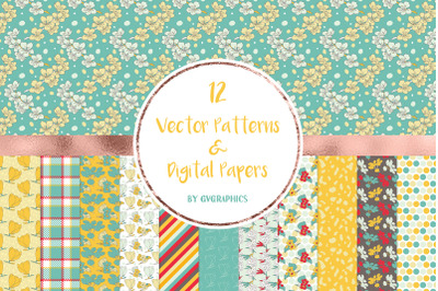 12 Vector Spring Flowers and Leaves Patterns & Digital Papers
