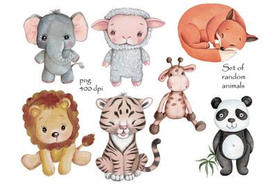 Set of random animals. Watercolor art.