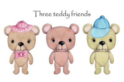 Three teddy friends. Watercolor illustration.