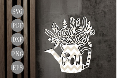 Watering Can Papercut Template, Crazy plant Lady, SVG, PDF