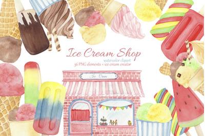 Ice Cream Popsicle Clipart. Watercolor Ice Cream Shop. Summer Clipart