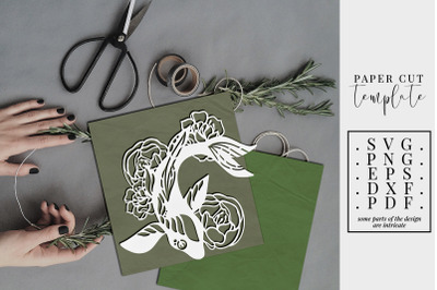 Fish And Peony Papercut Template, Japanese Koi SVG, DXF, PNG