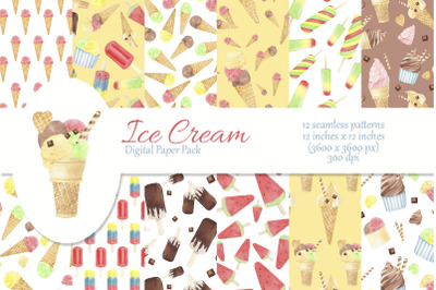 Watercolor Ice Cream Digital Paper