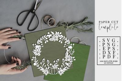 Autumn Wreath Papercut Template, Leaves Fall SVG, PDF, DXF