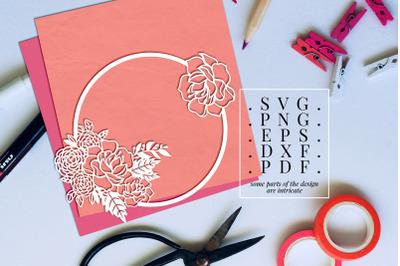Peony Wreath 1 Papercut Template, Flower Decor SVG, PDF, DXF