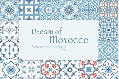 Watercolor Moroccan Tiles Clipart