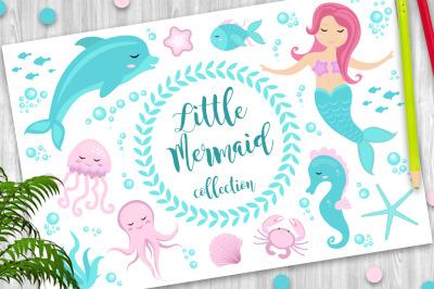 Cute set Little mermaid and underwater world