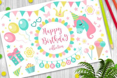 Happy birthday modern cute icons set