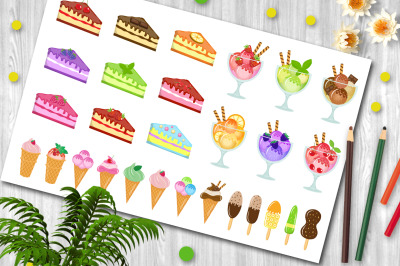 Sweets big set icons, cake and ice cream