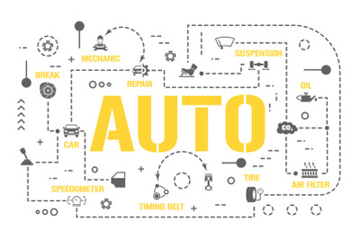 Auto word concepts banner and icons
