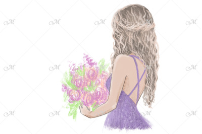Flowers Girl Hand drawn Illustration.