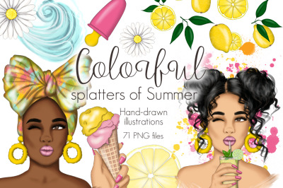 Colorful Splatters Of Summer Clipart & Patterns