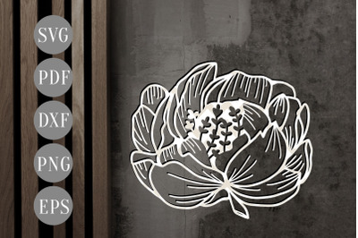 Floral Peony Papercut Template, Spring Flower SVG, PDF, DXF