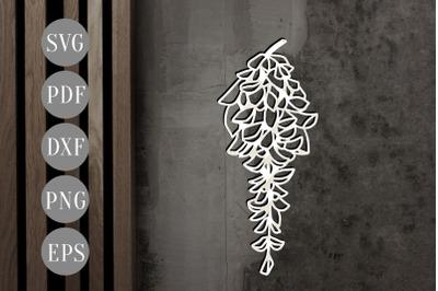Wisteria Peony Papercut Template, Spring Flower SVG, PDF