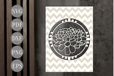 Dahlia Frame Papercut Template, Spring Flower SVG, PDF