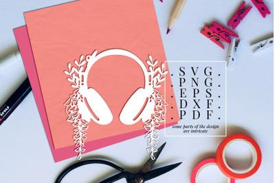 Headphone 1 Papercut Template, Spring Floral Vinyl, SVG, PDF