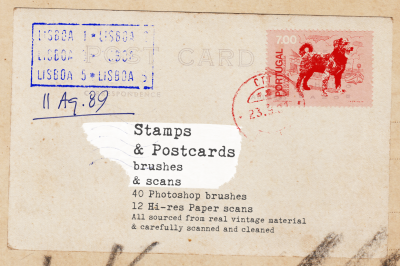Vintage Stamps and Postcards brushes and textures