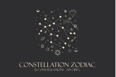 Horoscope , constellation , zodiac , space, star, vector illustration
