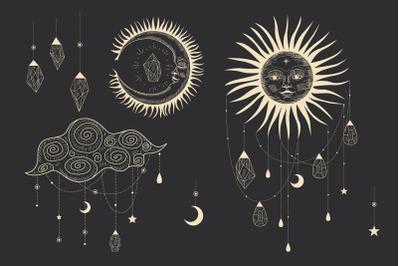 Sun moon crystals