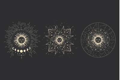 The sun and the horoscope. zodiac signs