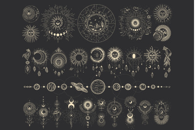 A set of elements. space, sun, moon
