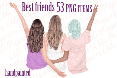 Best Friends Clipart,Besties clipart,Fashion Girls graphics