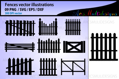 Fence vector silhouette