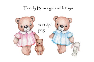 Teddy bears girls with toys. Hand drawn.