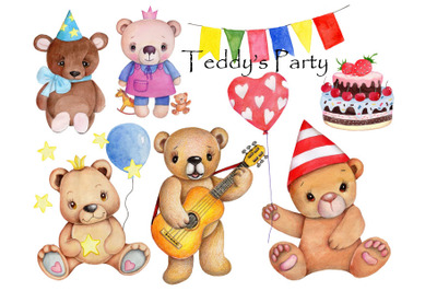 Teddy's Party. Watercolor hand drawn illustrations.