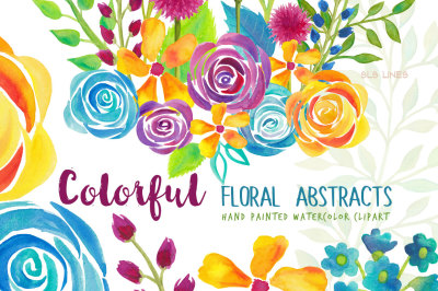 Colorful Flower Abstracts Watercolor Clipart
