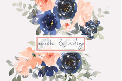 Indigo and Peach Watercolor Floral Clipart Collection