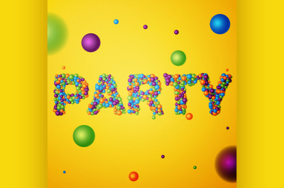 party word consisting of colored 3d particles