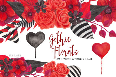 Gothic Florals Watercolor Graphics