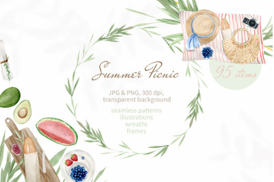 Summer Picnic Watercolor Clipart. Illustrations, Patterns