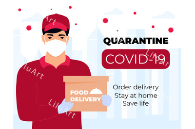 Safefood delivery. COVID-19. Quarantine in the city.