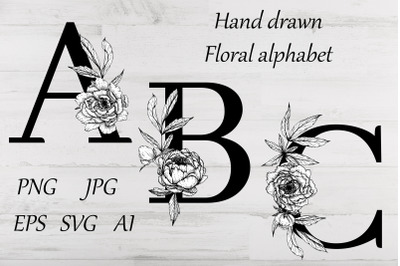 Alphabet with flowers and leaves SVG, PNG. Floral font