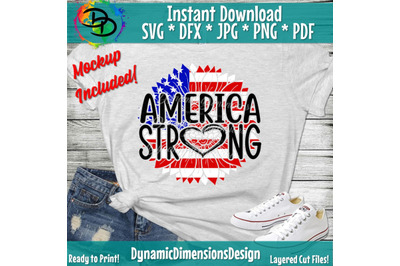 Patriotic Sunflower Svg, America Strong, 4th of July Svg, American Fla