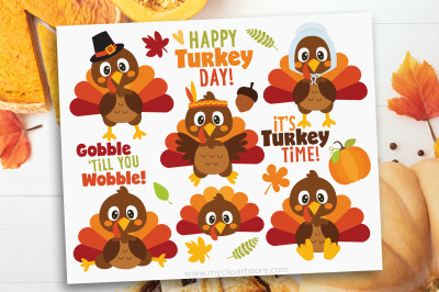 Thanksgiving Turkey Day Clipart, Vector, Sublimation, SVG