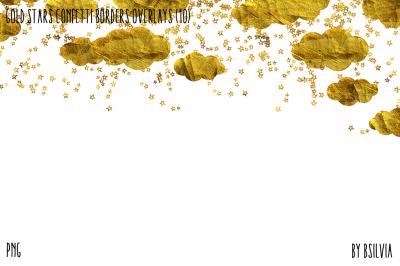 Gold Stars Confetti Borders Overlays