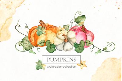 Watercolor Pumpkins. Clipart, premade cards, seamless patterns, frames
